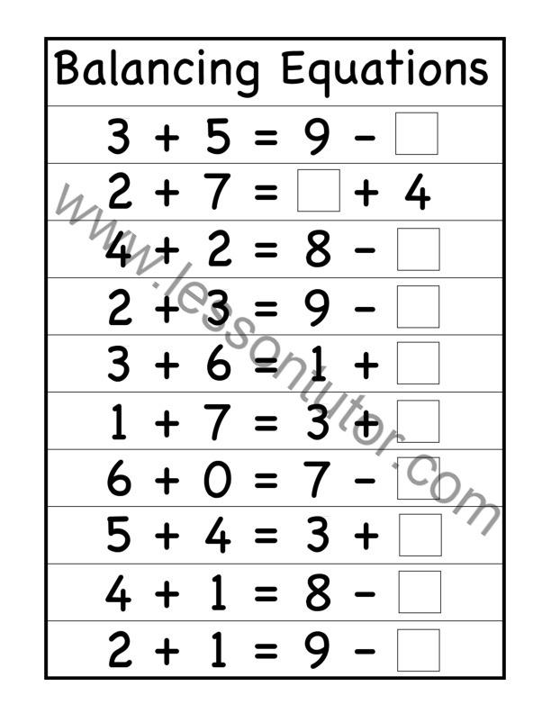 Balancing Equations Worksheet Second Grade - Tessshebaylo