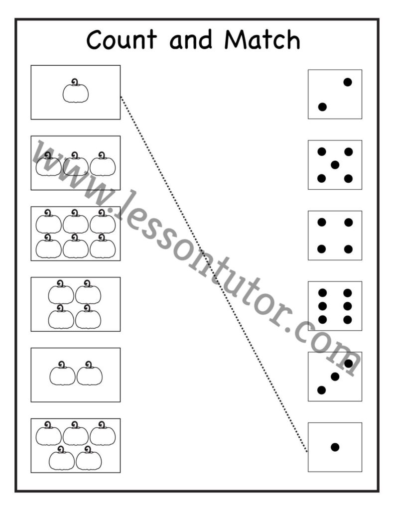 Count And Match Worksheet Kindergarten Lesson Tutor - Get Kindergarten Matching Worksheets Background