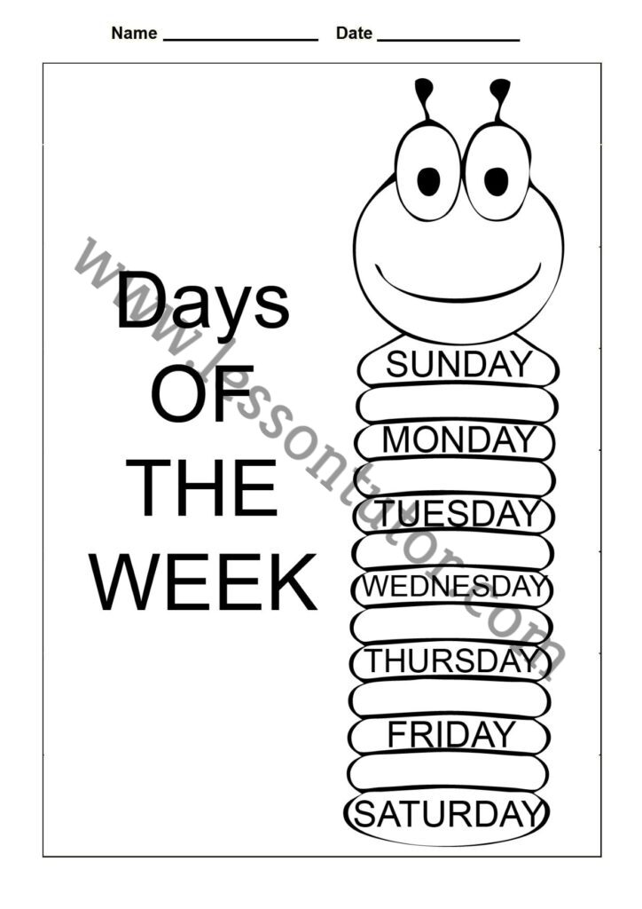 Days Of The Week Worksheet First Grade - 7 - Lesson Tutor
