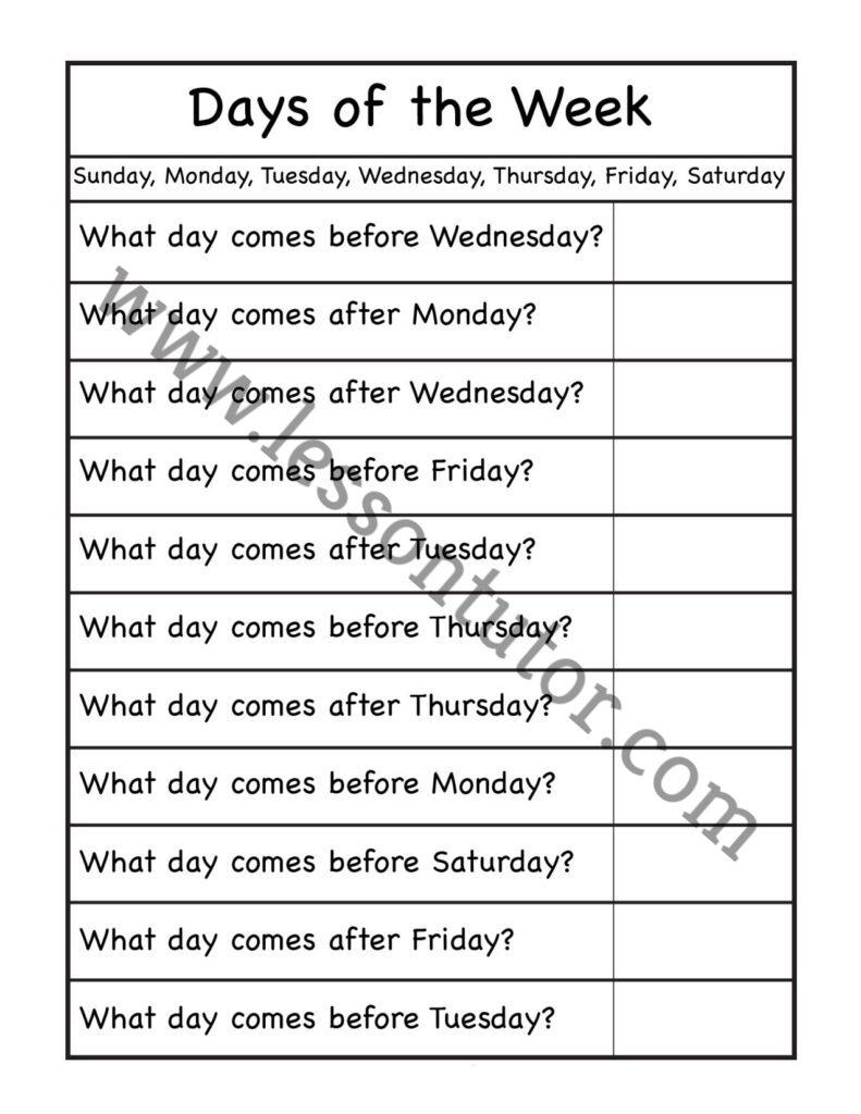 Days Of The Week Worksheet Kindergarten 2 Lesson Tutor - View Days Of The Week Worksheet For Kindergarten Background
