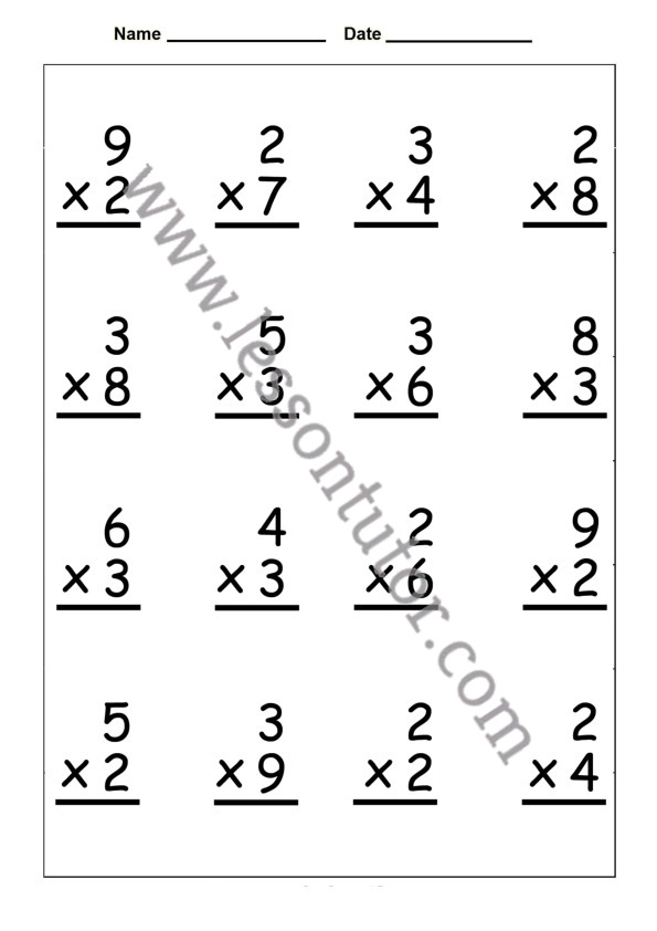 Single Digit Multiplication Worksheet Third Grade 2 - Lesson Tutor