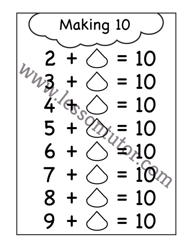Ways To Make 10 Worksheet Kindergarten 4 - Lesson Tutor