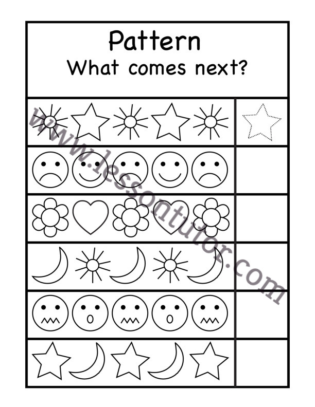 What Comes Next Patterns Worksheet Kindergarten - Lesson Tutor